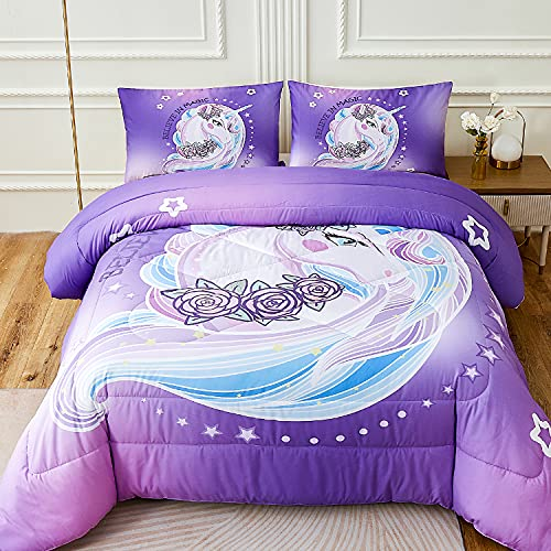 Namoxpa Purple Unicorn Bedding Comforter Sets Kids Girls Rose Unicorn Flower Comforter Sets for Teens Girls and Boys,Queen Size
