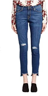 Mossimo Women's Mid Rise Straight Crop Jean Destroyed - Blue Burst -