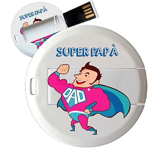 My Custom Style Pen Drive USB tonda 4,3cm-0,3mm#FestadelPapà-SuperPapà2#4Gb