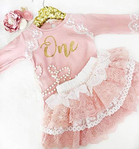 Kryssi Kouture First Birthday Blush Ribbed Leo & Lace Tutu 3 Piece Set Pink