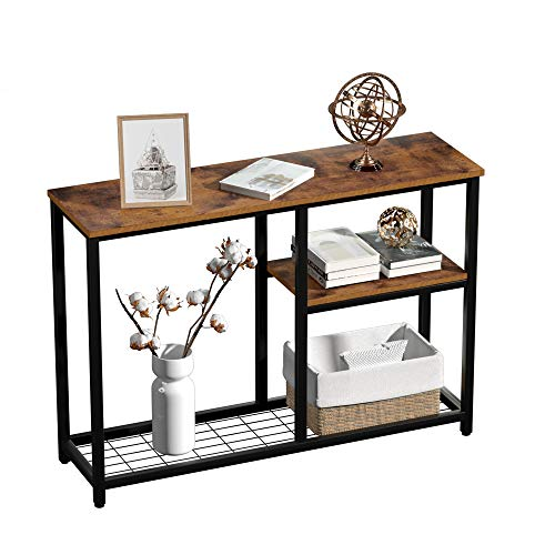 """Console Sofa Table, 42"""" Rustic Console Table&TV Stand, 3-Tier Industrial Hallway/Entryway Table, Open Bookshelf with Net Storage for Living Room Bedroom, Rustic Brown"""