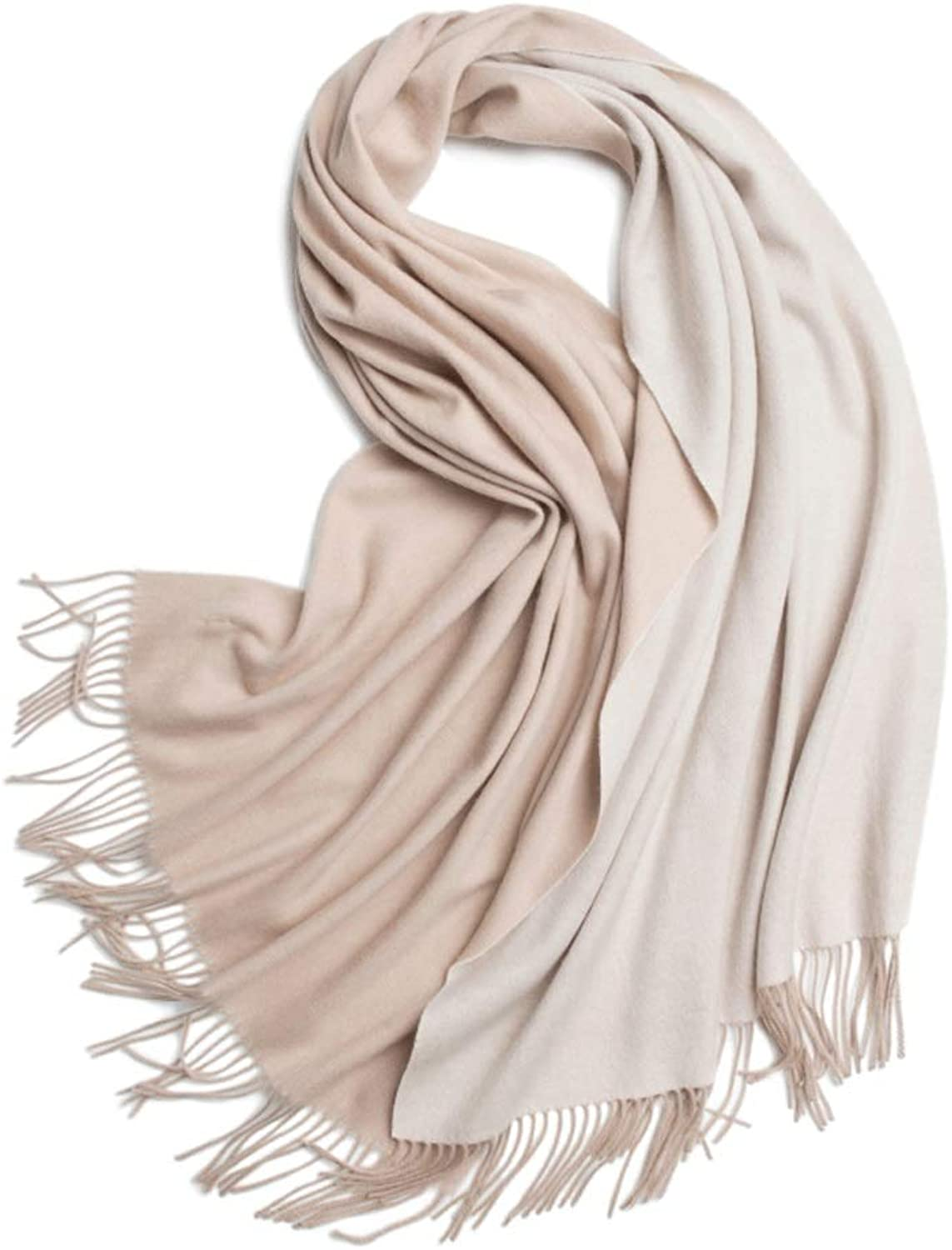 WXL Winter Scarf 200cm × 70cm DoubleSided Twocolor Woman Soft Warm Tassels Shawl V (color   Camel+Beige)