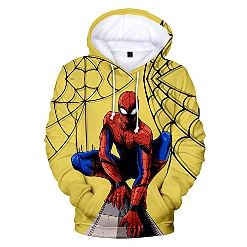 Spiderman Kids Hoodie Cosplay Adulto Bolsillo Jersey Halloween Casual Anime Sudadera Carnaval Al Aire Libre Deporte Saltadores,Yellow-Adult/XS