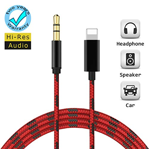 Aux Cable for iPhone 3.5mm Aux Cord for Car Adapter Compatible with iPhone Xs/XS Max/X/8/8Plus/7/7Plus to Headphones Jack Adaptor Car Stereo Speaker Compatible with All iOS Systems-Red Black