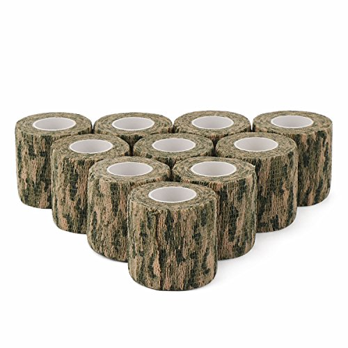 DROK 2.0in 14.76ft Washable Grass Camouflage Cohesive Bandage, 10 Rolls Nonwoven Fabric Self adhering Tape Vet Wrap, Camo Stealth Protective Tape for Flashlight Handle Hunting Accessories