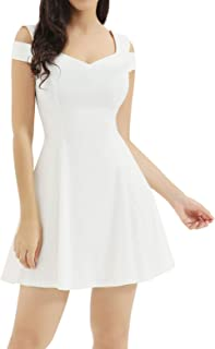82c1b18dc35 InsNova Women s Cold Shoulder Little Cocktail Party A-line Skater Dress