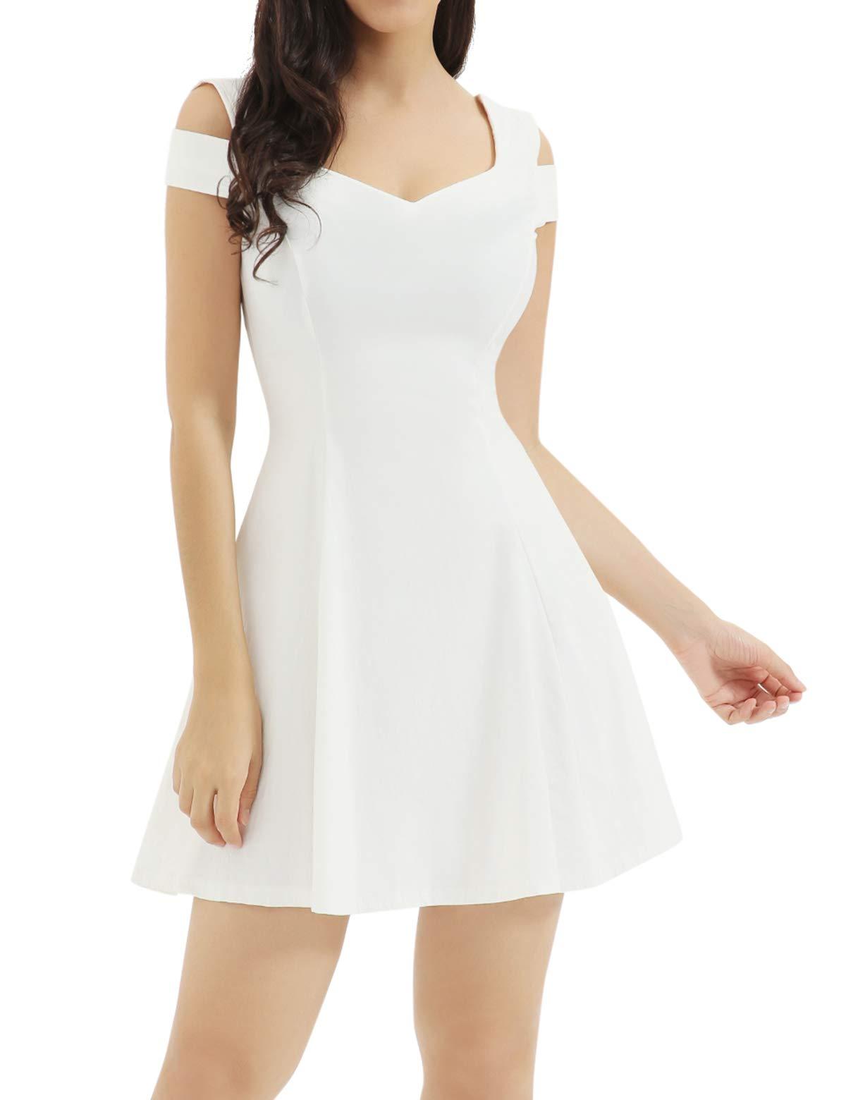 White Dress - Women Sweet And Cute Sleeveless Racerback Flared Swing A-Line Waist Hollow Out Summer Short Dress