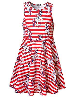 USA Flag Unicorn Dresses for Big Girls 10 12 4th July Independence Day Costume