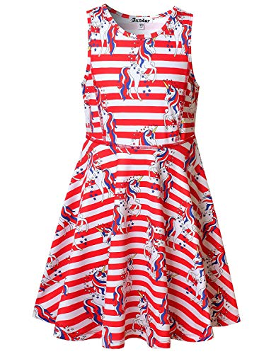 Big Girls Sleeveless Unicorn Dresses American Flag 4th July Clothes Size 8 9
