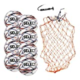 SELECT Campo Soccer Ball Package, Pack of 8 Soccer Balls with Ball Net and Hand Pump, White, Size 4