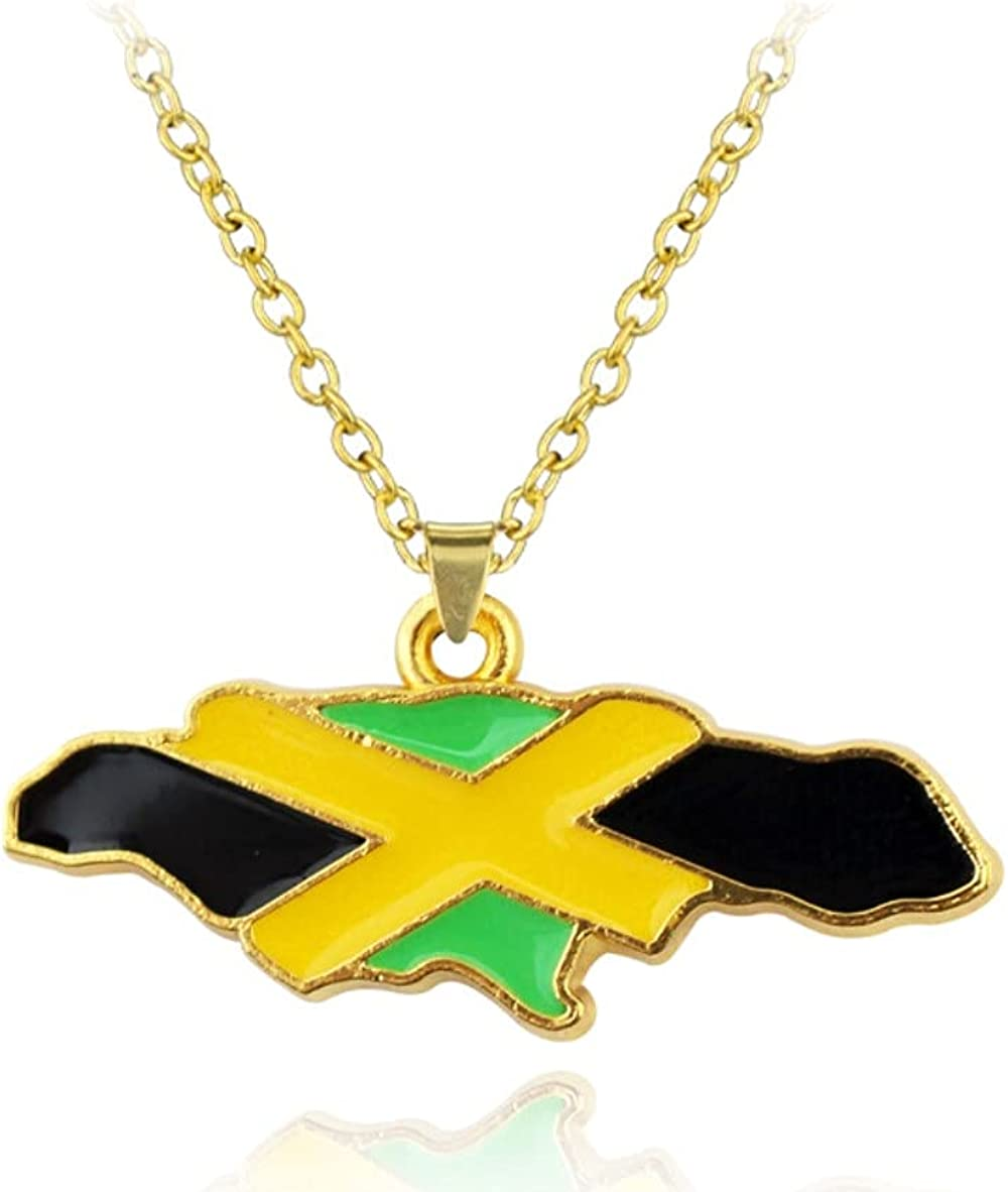 Askana Fashion Unisex Country Country's Flag Map Gold Pendant Necklaces