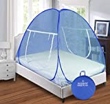 Backbone Mosquito Net Foldable King Size (Double Bed) with Free Saviours - (Full Blue)