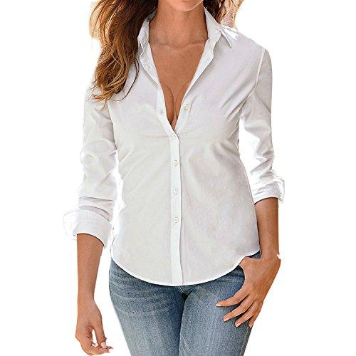 LAEMILIA Damen Blusen Langarm beiläufig Elegante Stretch T-Shirt Hemd Lose Boyfriend Stil Langarmshirt Tops Oberteil (L(38), Weiß)