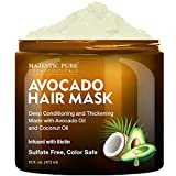 MAJESTIC PURE Avocado and Coconut Hair Mask for Dry Damaged Hair - Infused with Biotin - Deep Conditioning, Hair Thickening, for Healthy Hydrated Hair, Sulfate Free, 16 fl oz