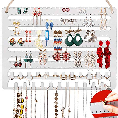Wooden Jewelry Organizer Wall Mounted Hanging Jewelry Organizer Earring Organizer Necklace Holder Bracelet Holder Over the Door Jewelry Holder for Earrings Necklaces Rings
