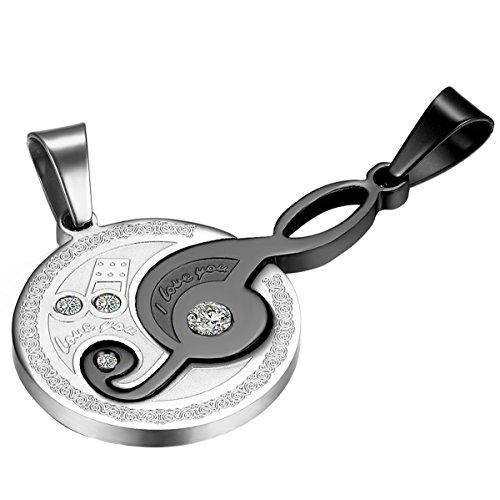 Cupimatch 2-delige roestvrijstalen paar ketting strass muziek noot puzzel bijpassende hanger met ketting