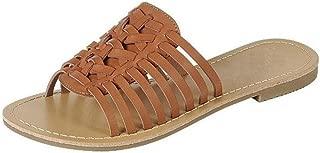 Womens Woven Huarache Flat Sandal Open Toe Slip On