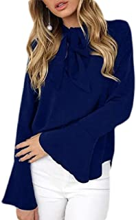 Womens Fashion Tie Bow Neck Bell Sleeve Chiffon Solid Blouse Top
