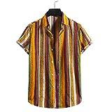Camisas de hombre de ajuste ajustado, blusa casual de verano de manga corta para hombres, camiseta de lino de algodón con estampado de rayas, amarillo, XL