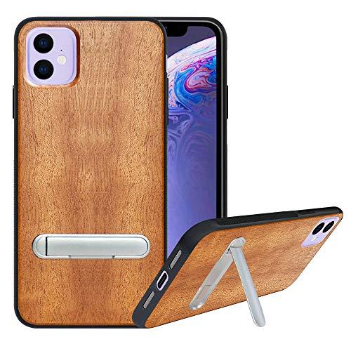 HHDY Cover iPhone 11 (2019) 6.1  Con Naturale Legno,Custodia iPhone 11 (2019) 6.1 cover Protettiva con Supporto Cavalletto Con Metallo,Anti-Scivolo Bumper Case per iPhone 11 (2019) 6.1 ,wooden