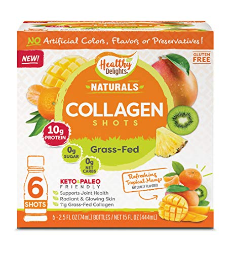 Delights Grass-Fed Collagen, Refreshing Tropical Mango, 6 Shots, Total...