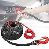 Vogvigo Cable sintético para Cuerda de cabrestante 3/8'*85ft línea de Cable de cabrestante con Funda Protectora y Gancho 19000 lbs Compatible con la mayoría de Camiones, Ramsey, KFI, ATV, UTV, Barcos