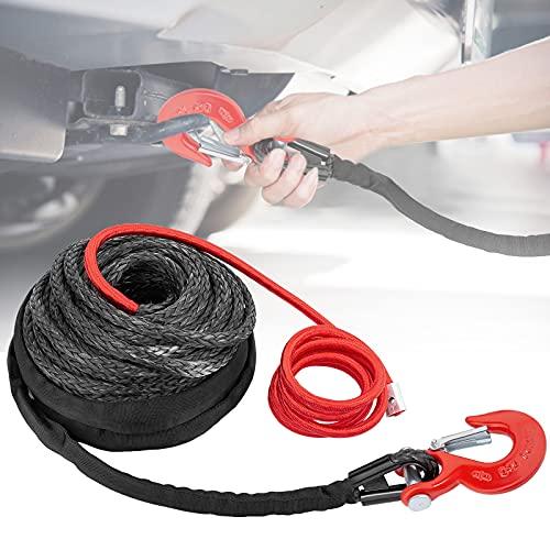 """Vogvigo Cable sintético para Cuerda de cabrestante 3/8""""*85ft línea de Cable de cabrestante con Funda Protectora y Gancho 19000 lbs Compatible con la mayoría de Camiones, Ramsey, KFI, ATV, UTV, Barcos"""