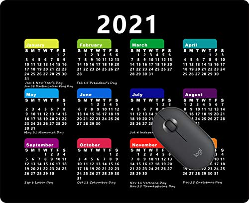 2021 Calendar Mouse pad Gaming Mouse pad Office Mousepad Nonslip Rubber Backing-Black