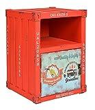ts-ideen Kommode Schrank Nachttisch Regal Schlafzimmer Container in Rot Industrie Design Shabby Metall Optik Vintage 35 x 50 cm