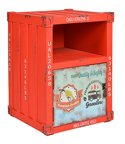 ts-ideen Kommode Schrank Nachttisch Regal Schlafzimmer Container in Rot Industrie Design Shabby Metall Optik Vintage 35 x 50 cm