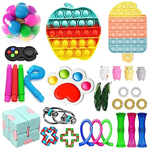 30 Pack Sensory Fidget Toys Set, Relieves Stress and Anxiety Kits for Kids Adults, Gifts for Birthday Party Favors, Christmas Stocking Stuffers, School Classroom Rewards, Carnival Prizes (Set 9)
