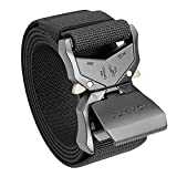 JUKMO Tactical Belt, Military Hiking Rigger 1.5' Nylon Web Work Belt with Heavy Duty Quick Release Buckle (Black, Medium)