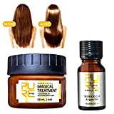 Magical Treatment Mask Repairs Damage Restore Soft Hair 60ml + 10ml Acondicionador Serum for All Hair Types Keratin Hair & Scalp Mascarilla para el Pelo Profesionales para Dañado Cabello (2 sets)