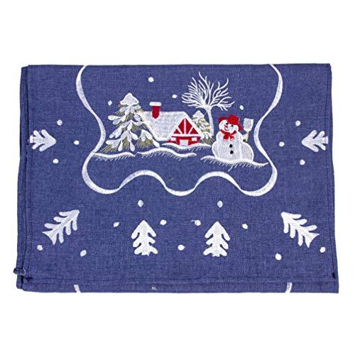 Amosfun - Camino de Mesa (1 Unidad, para Navidad, decoración de mesas, para restaurantes, cenas y festividades navideñas), Color Azul