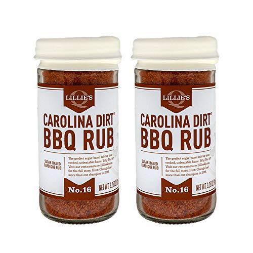 Lillie's Q - Carolina Dirt BBQ Rub, Sugar-Based BBQ Rub, Traditional Carolina Barbeque Rub, Sweetened Blend of Southern Spices, Perfect Barbeque Seasoning for Ribs, Pork, & Fries (3.25 oz, 2-Pack)