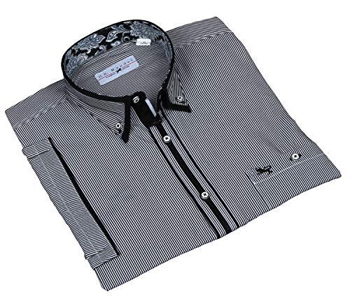 Designer Hemd schwarz/weiß gestreift, Mikrofaser Hemden Herren von hkmandel Normal-Nicht tailliert Größe L