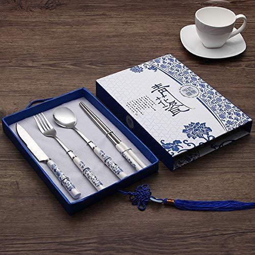 Pergamino chino Azul Y Blanco Porcelana Cuchillo Cubiertos Y Palillos De La Cuchara De Horquilla Se Adaptan A Las Características Del Acero Inoxidable Viento Chino Regalos Reuniones De Negocios De Reg