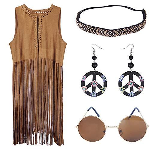 Learplay Hippie Kostüm Damen Karnevalskostüm 70er Jahre Bekleidung Damen Hippie Accessoires, Braun Vest With Lange Fringed+hippie Stirnband Brille+friedenszeichen Ohrring, XXXL(Büste120cm)