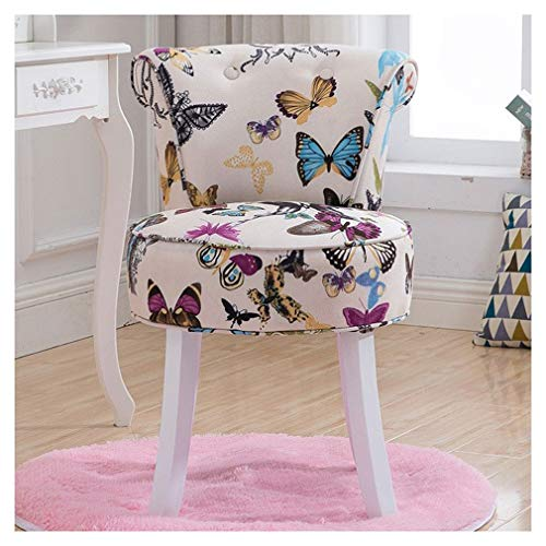 Chair Wildleder Make-up Hocker + Runde Teppichmatte Set, Frisierstuhl Schminktisch Hocker Stillstuhl, High Back Velvet Lounge Schlafzimmer Garderobe Möbel KADJ (Color : Butterfly)