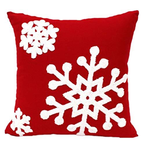 Tomaibaby Cojín de Navidad de Algodón Copo de Nieve Bordado Cojín de Navidad Funda de Cojín de Navidad Funda de Almohada Suave para El Hogar Sofá Cama Silla