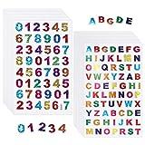 QINREN 60 Blätter Buchstaben Aufkleber Zahlenaufkleber Glitzer Buchstaben Klebebuchstaben Zahlensticker für DIY Scrapbooking oder Verschönerung zum Beschriften