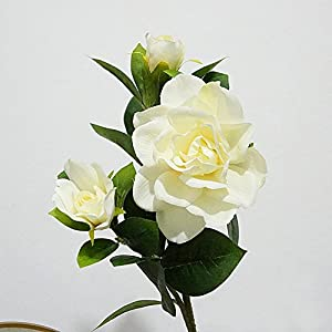 Valensha 1Pc 3 Heads Fashion Artificial Gardenia Flower Wedding Party Bouquet Home Decor- Milk White