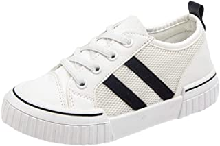 Hopscotch Boys and Girls 90% PU + 10% Synthetic/PU Fixed Lace Athletic Shoes in White Color, UK:3.5 (FCS-3143303)