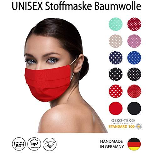 einfarbig ROTE Facies unisex wiederverwendbar 60 Grad waschbar aus Baumwolle Stoff Facies hergestellt in Berlin sofort lieferbar