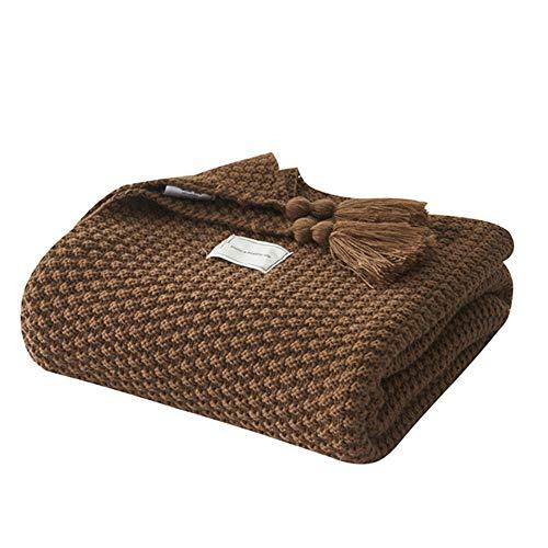 UnvfRg - Manta de punto nórdica hecha a mano, moderna y suave, para sofá o cama, color marrón