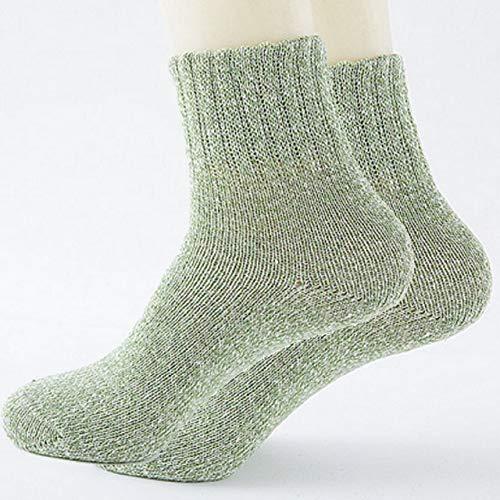 1 par de Calcetines Gruesos para Mujer, Calcetines Informales Deportivos de algodón Suave para Mujer, Invierno cálido, Primavera, Resistencia al frío al Aire Libre-Green