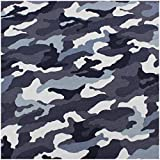 VmG-Store Tela de jersey por metros para coser, de algodón para niños, 150 cm de ancho (camuflaje azul JB011, 25 x 150 cm)