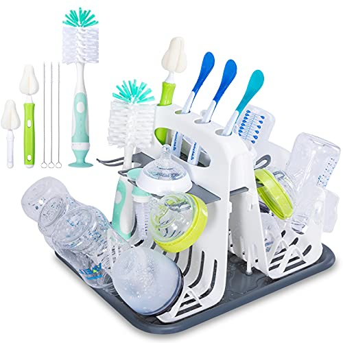 High Capacity Drying Rack with 6pcs Brushes,Deluxe Countertop Drying Rack,Universal Drying Station,Baby Bottle Drying Rack with Bottle Brushes,Cup and Bottle Drying Rack, Folds Flat,White