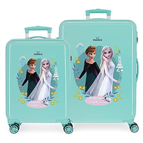 Disney Frozen Follow Your Dreams Juego de Maletas Azul 55/68 cms Rígida ABS Cierre de combinación Lateral 104 6 kgs 4 Ruedas Dobles Equipaje de Mano