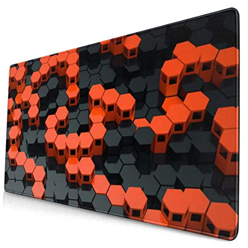 Custom Colourful Mouse Pad Orange and Black Wallpaper Desk Pad Mouse Mat Protector Large Gaming Keyboard Mat Large Mousepad Non Slip Rubber Base